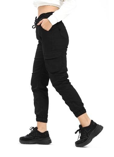 Modaplaza Kadın Patolon Siyah Kargo Cepli Siyah